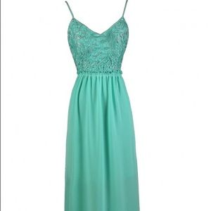 Jade Chiffon Maxi Dress with Crochet Lace Top
